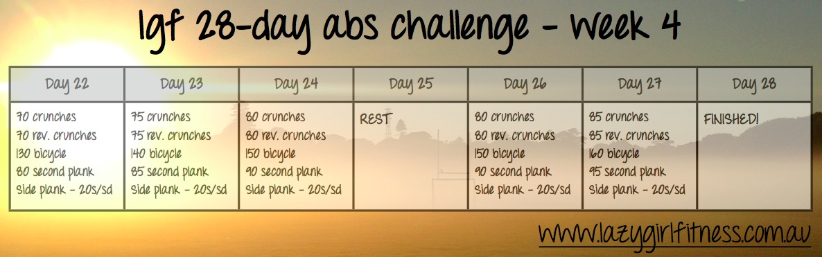 28 Days Abs Challenge 28 Day ab Challenge Fit Guide