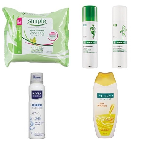 Can't live without: Simple wipes | Klorane | Nivea deoderant | Palmolive body wash