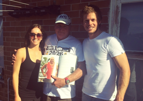 Fraser & I with Alan Farrell, who has completed all 35 City2Surfs. He is an official legend!