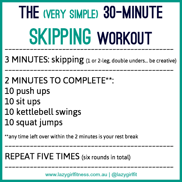 30-Minute Skipping Workout - Lazy Girl Fitness